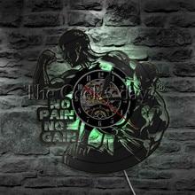 1 Stuk No Pain No Gain Led Verlichting Bodybuiling Vinyl Record Wandklok Gym Fitness Opknoping Lamp 3D Verlichte Sport night Lamp