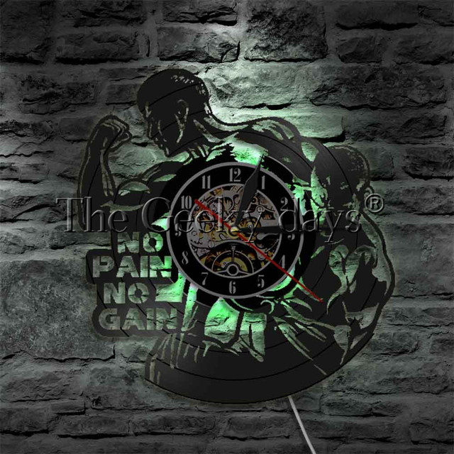 1Piece No Pain No Gain LED Lighting Bodybuiling Vinyl Record Wall Clock Gym Fitness Hanging Lamp 3D Lighted Sport Night Lamp