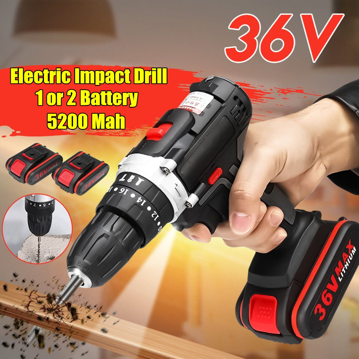 Newest 36V Electric Impact Drill DIY Home Electric Screwdriver Wireless Electric Cordless Drill 1/2 Li-ion Battery Power ToolsNewest 36V Electric Impact Drill DIY Home Electric Screwdriver Wireless Electric Cordless Drill 1/2 Li-ion Battery Power Tools