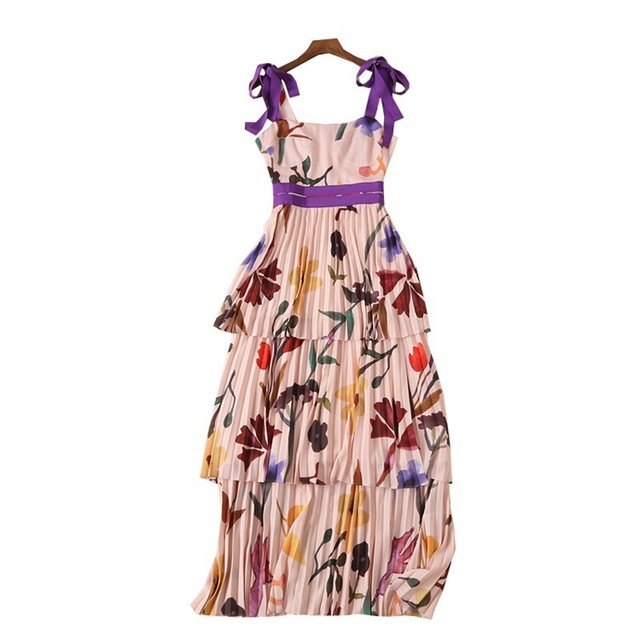 Pleated Maxi Dress Print Strap  High Waist with Sleeveless