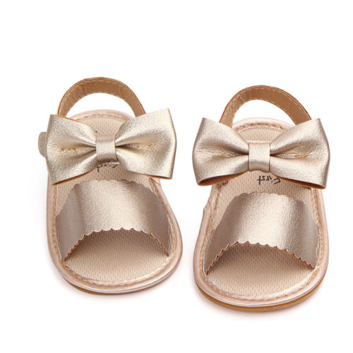Cute Newborn Infant Baby Girls PU Leather Bowknot Sandals Princess Party Gold White Flat With Rubber Shoes