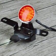 1 шт задний фонарь Подсветка регистрационного номера круглый Стоп тормозной фонарь светодиодный Ретро Кафе Racer для Honda Kawasaki