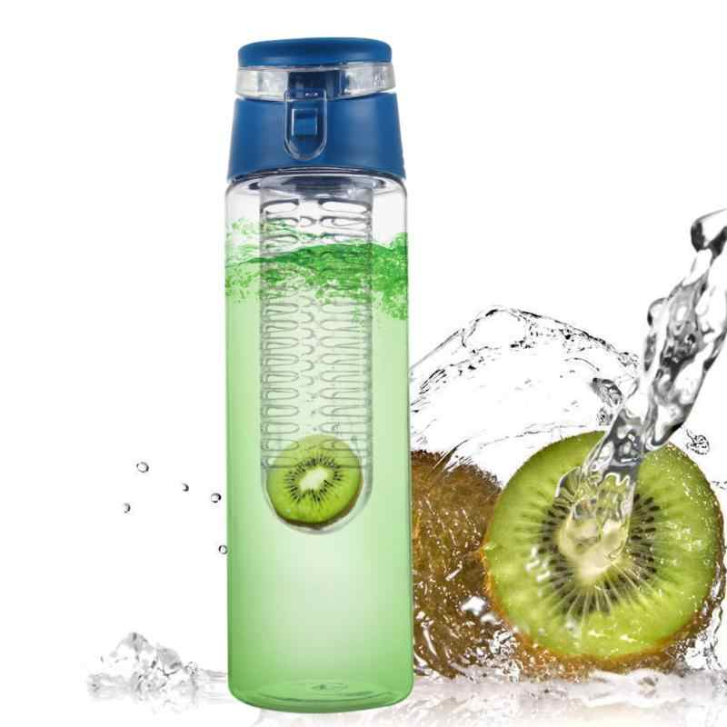 800ML Fruit Water Bottle With Tea Infuser Silicone Juice Make Sports Fitness Health Detox Bottles Camping Travel Accessories