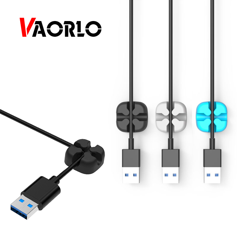 VAORLO Cable Winder USB Cable Organizer <font><b>Silicone</b></font> Flexible Cable Management Clips <font><b>Silicone</b></font> Cable <font><b>Holder</b></font> For Headphone <font><b>Earphone</b></font> image