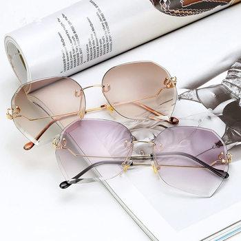 0d98f360211f6 De moda Rosa degradado sin montura gafas de sol para mujeres de gran tamaño  gafas de corte de diamante