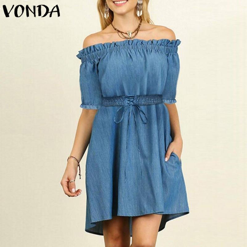 VONDA Women Sexy Off Shoulder Mini Dress 2018 Summer Denim Lace-Up Drawsting Elastic Waist Casual Solid Plus Size Boho Vestidos