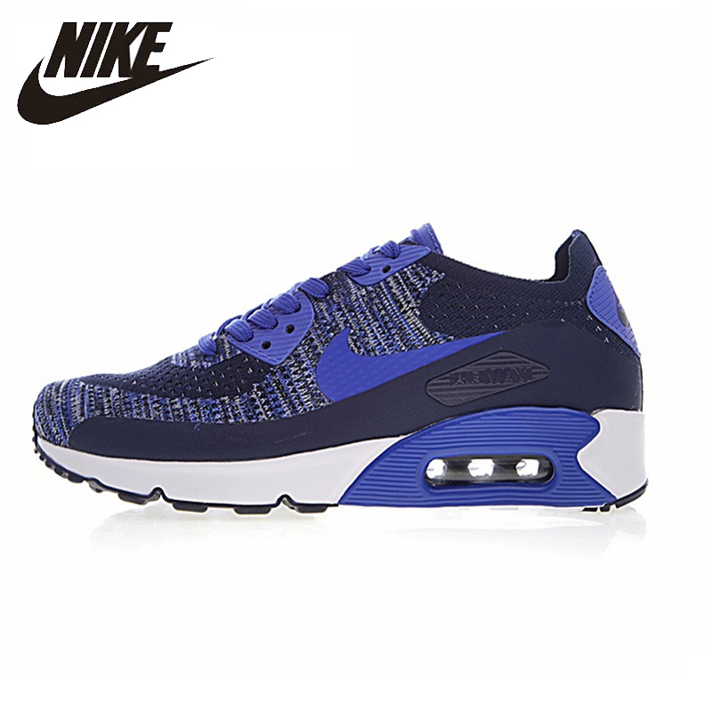 Nike Air Max 90 Ultra 2.0 Flyknit Non slip Breathable Men's Running Shoes Blue White Wear resistant Outdoor Shoes#875943 400