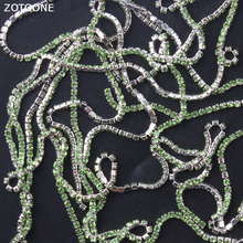 ZOTOONE 1Yard SS6 Light Green Rhinestones Chain Strass Applique DIY Crystals Stone for Clothes Sew on Rhinestone Nail Decoration