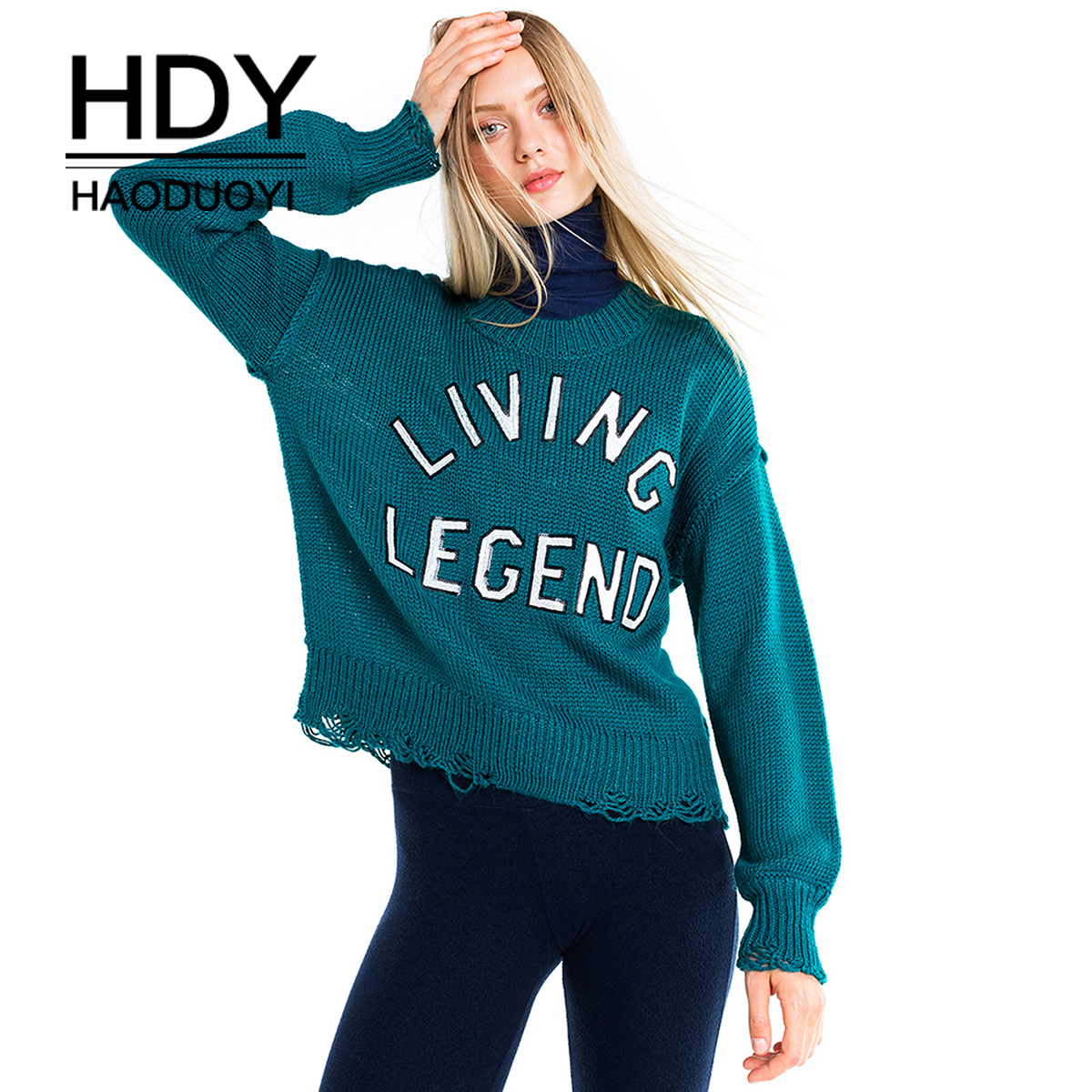 HDY haoduoyi Autumn winter women sweaters and pullovers korean style long sleeve casual solid color sweater