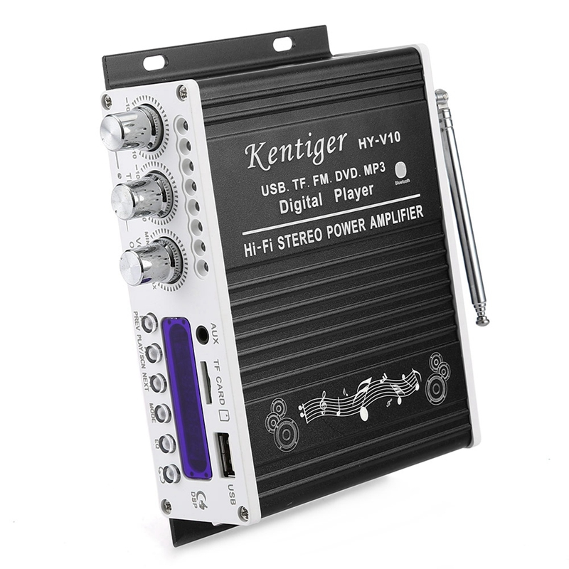 Kentiger V10 Amplifier Bluetooth Hi Fi Class Ab Stereo Super Bass Audio Power Amplifiers Car Senior Shielding Built In Circuit in Amplifier from Consumer Electronics