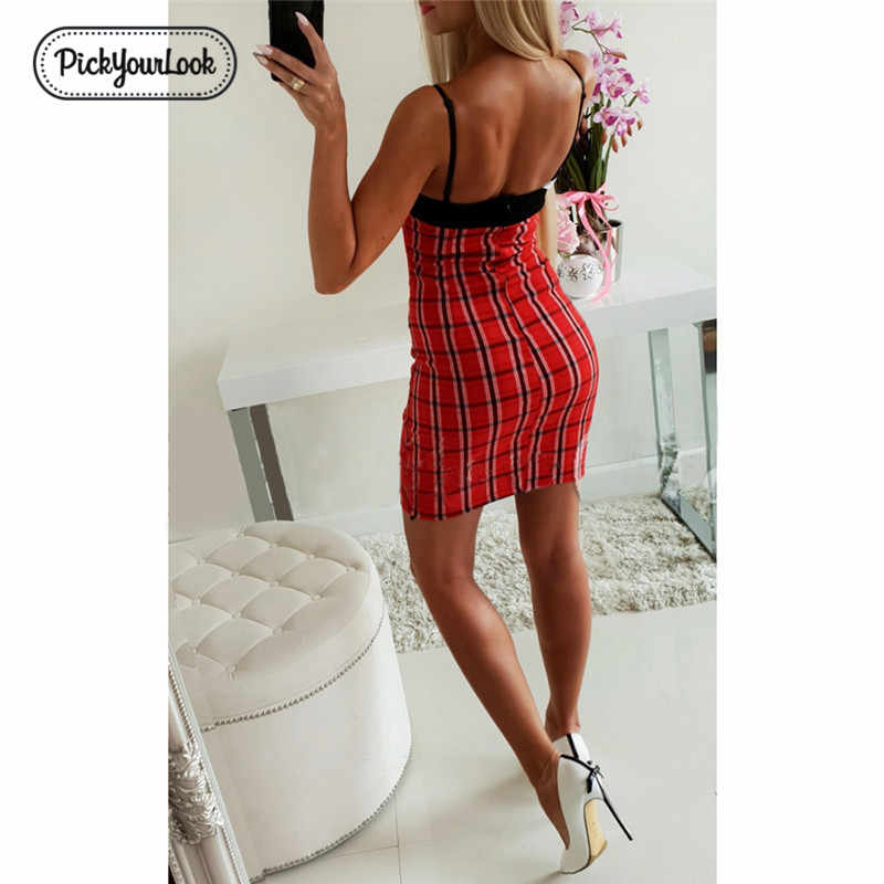 Pickourlook женское платье сексуальное платье на тонких бретельках облегающее Бандажное базовое клетчатое винтажное летнее платье Короткое однотонное платье без бретелек Vestido