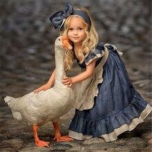 Детское джинсовое платье-пачка в стиле ретро для маленьких принцесс, праздничное платье для маленьких девочек Лидер продаж, новое модное милое джинсовое кружевное платье с рукавами-крылышками