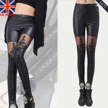 High Quality wholesale Punk Black faux leather gothic lace Legging women bandage up leggings Patchwork Sheer Crop Pants