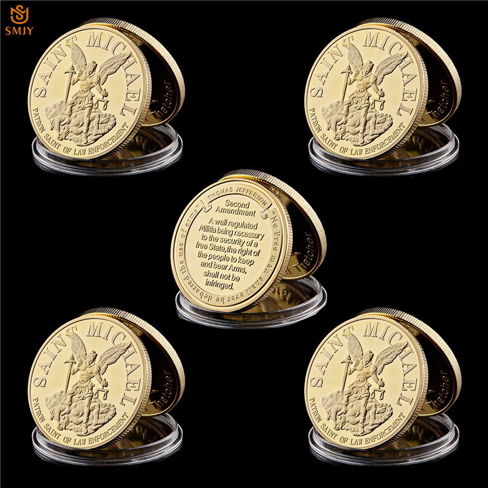 US $12 76 31% OFF 5Pcs USA St  Michael Archangel Guardian Law Enforcement  Prayer Gold Plated Token Commemorative Coins Collection-in Non-currency