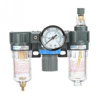 1/4 Threads Air Source Gas Treatment Unit Filter Pressure Regulator Valve With Gauge Tools