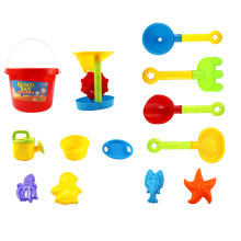 13 Pieces Beach Sand Toys Set with Mesh Bag for Kids Color Random Beach Bucket+ 4 Shovels +Watering Can+Filtering Tools mesh bag(China)