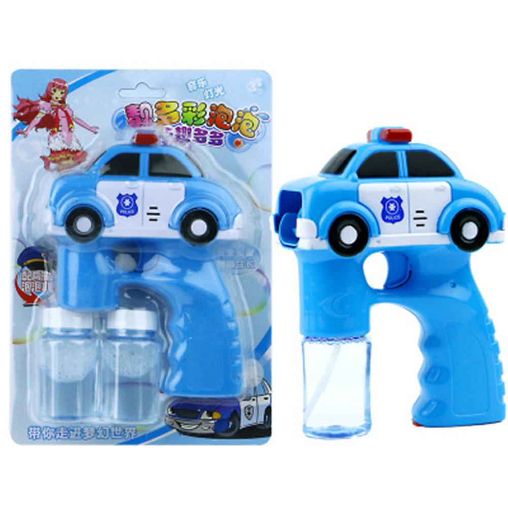 Full-automatische Blauwe Auto Vorm Bubble Machine Lichte Muziek Speelgoed voor Kids Zomer Spelen Water Strijd Speelgoed voor Politie auto Blauw