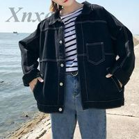 White line jacket female casual solid demin jackets women street dance loose jackets autumn winter plus size single breasted