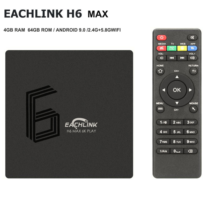 EACHLINK H6 Max Smart TV Box Android 9.0 Box TV Allwinner H6 4 GB RAM 64 GB ROM 2.4G + 5.8 GWiFi 100 Mbps USB3.0 BT4.1 6 K H.265