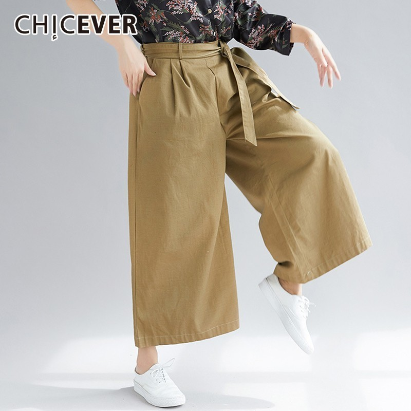 CHICEVER Trousers For Women's   Wide     Leg     Pants   High Waist Lace Up Loose Oversize Khaki   Pants   Female Fashion Vintage New 2018