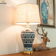 лучшая цена Chinese Retro Table Lamp For Bedroom Bedside Lamps Table Living Room Vintage Lamp For Decoration Ceramic Antique Luminaire