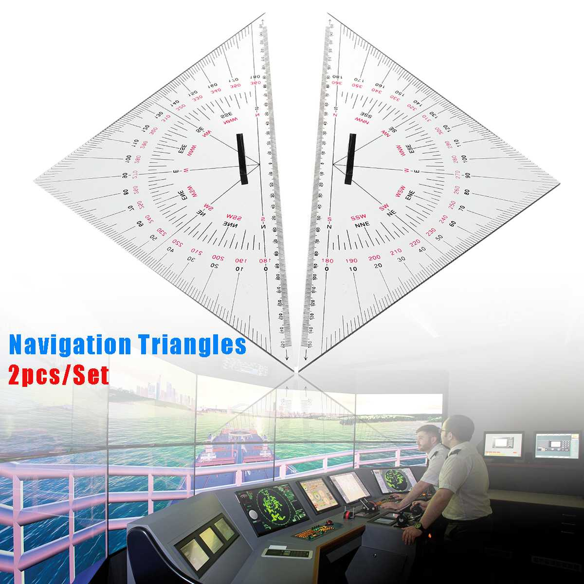 2Pcs 300mm Acrylic Navigation Triangular Protractor Hypotenuse Nautical Squares 34x24x24cm Clear Measuring & Gauging Tools