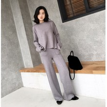 2018 Autumn Winter Women Two Piece Sets New Sweaters and Wide Leg Pants Knitted Suits Fashion Split Casual Outfits