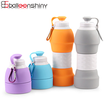 BalleenShiny Silicone 580ml Telescopic Water Bottle Large Capacity Outdoor Portable Cap Drinkware Sports Climbing Bottles