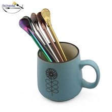 1Pcs Straw metal stainless steel Drinking Tea Yerba Mate Straw Gourd Bombilla Filter Spoon Drinking Filtered plating gold rose