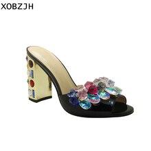 Женские кожаные сандалии с открытым носком, на высоком каблуке, с кристаллами, стразы, 2019