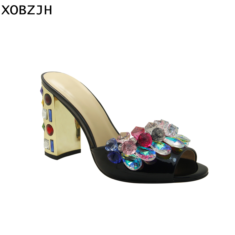 Luxury Sandals Women Shoes 2019 Leather Black Crystal High Heels Peep Toe Rhinestone Brand designer Sandals wedding Shoes Woman-in High Heels from Shoes