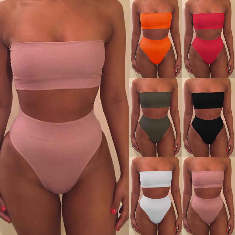 Sexy femmes couleur unie sans bretelles hors épaule Bikini ensemble push-up Bandeau rembourré Bandage maillot de bain maillot de bain maillot de bain