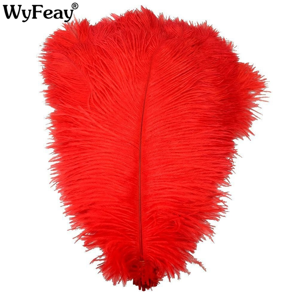 Wholesale 10 Pcs/Lot Natural Dyed Red Ostrich Feathers For Crafts Carnival Costumes Party Wedding Decorations Hard Rod Plumes