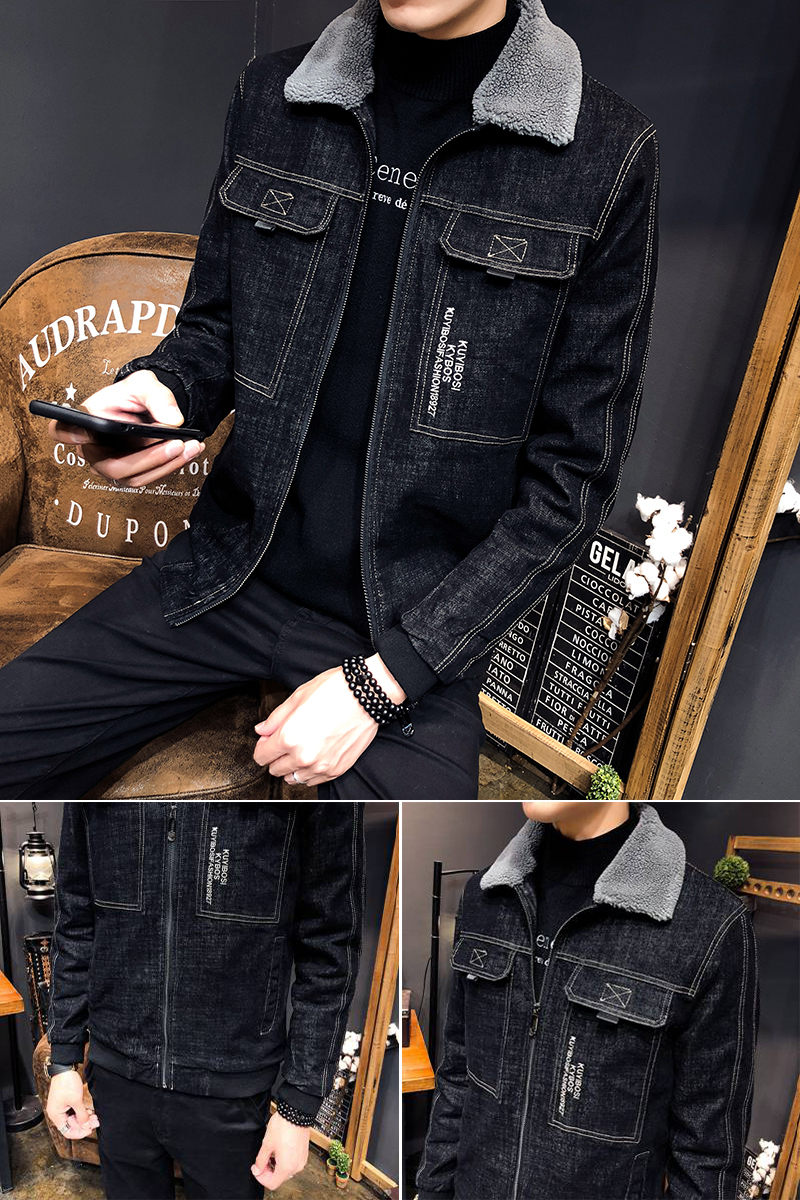 Hommes Veste Denim Hombre Mâle Et Hiver La Bombardier Outwear 2018 Cowboy Black Jean Manteau Chaqueta Mode À Chaud qaBxnwO