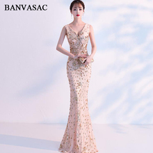 BANVASAC Deep V Neck Elegant Mermaid Sequined Long Evening Dresses Party Tank Sexy Zipper Backless Prom Gowns