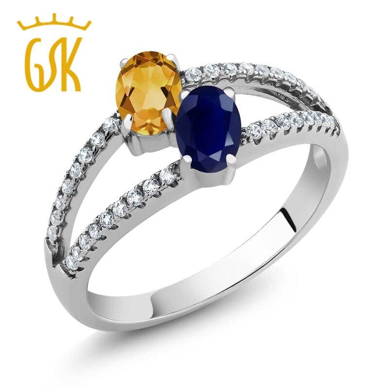 590c7a1058e GemStoneKing 1.36 Ct Oval Azul Safira Dois Pedra Natural Amarelo Citrino  925 Anel de Prata Esterlina