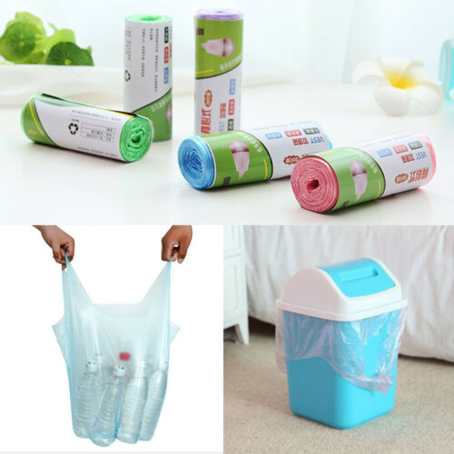 20pcs/roll Garbage Bin Liner Waste Trash Bag Clean Up Rubbish Bags Kitchen Bathroom Toilet Home Office Use