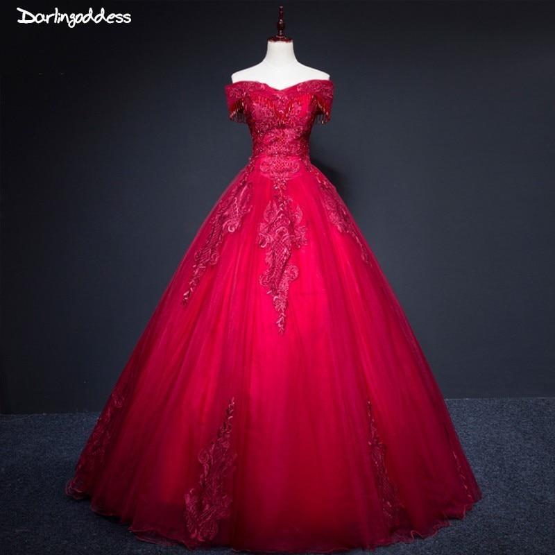Luxueux dentelle bordeaux robes de mariée 2019 robe de bal princesse robe de mariée épaules dénudées rouge rose robe de mariée Photo réelle