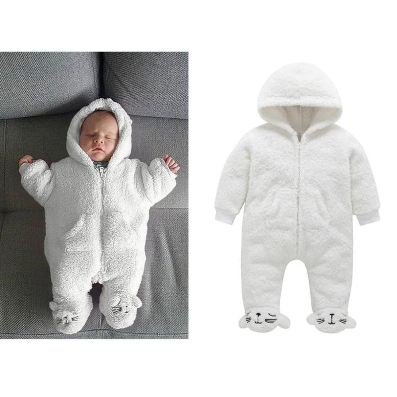 f921e91be047 Solid Color Baby Rompers Fleece Cartoon Winter Front Zipper Warm Pajamas  Hooded Jumpsuit Wrapped Foot Clothing
