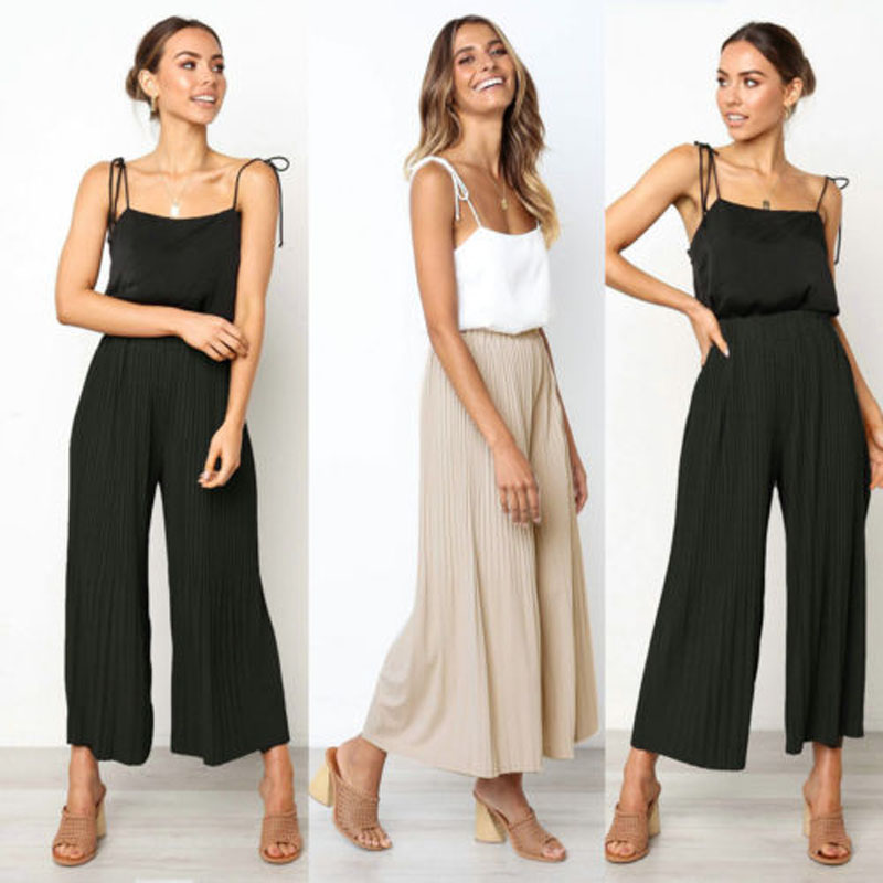 2019 New Brand Fashion AU Plus Size Women's Wide Leg High Waist Casual 3/4 Pants Loose Culottes Palazzo