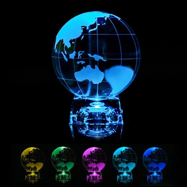 3D الليزر المحفور كريستال الكرة غالاكسي عرض غلوب المجال ثقالة الورق الزجاجي فنغشوي مع موقف واضح