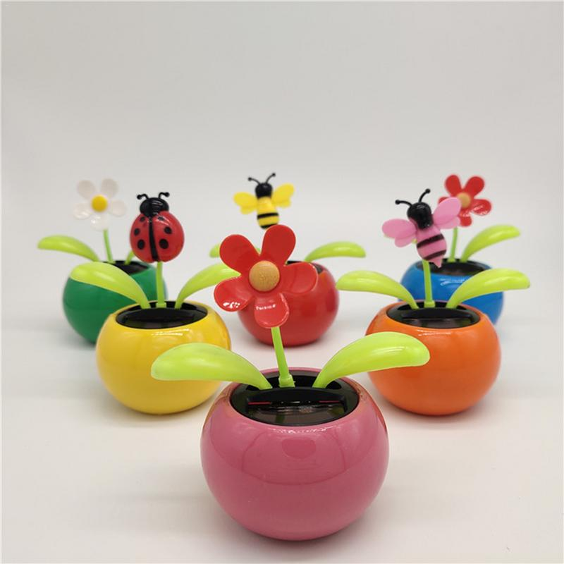 Sun Flower Shaking Head Doll Swing Solar Mini Apple ABS Car Interior Decoration For Gift Auto Accessories
