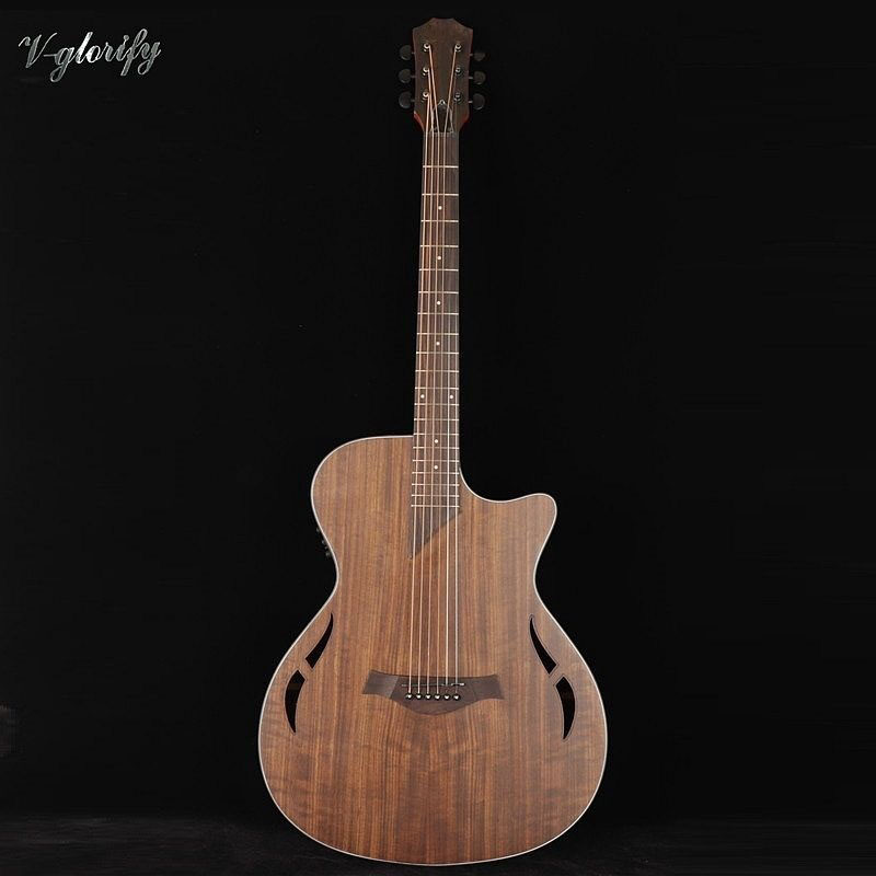 new type hickory wood electric acoustic guitar with eq with tuner wholesale(China)