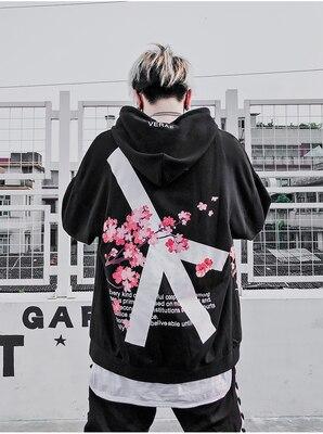 Image 3 - 2019 Winter modis Cherry Blossom Print Hoodie Streetwear Hip Hop oversize Women Men Unisex Cotton  Sweatshirts Retro Hoody-in Hoodies & Sweatshirts from Men's Clothing
