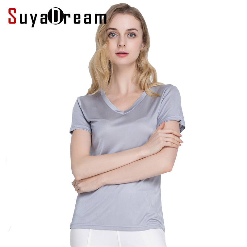 Silk women T shirt 100% Natural silk basic shirt Short sleeve solid V neck top 2019 new white black Bottoming Shirt