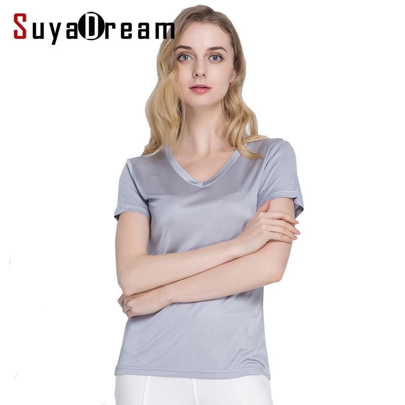 Wanita sutra T shirt, 100% sutra alami kemeja dasar, Lengan pendek padat V neck, Top 2019 baru putih hitam kemeja Bottoming