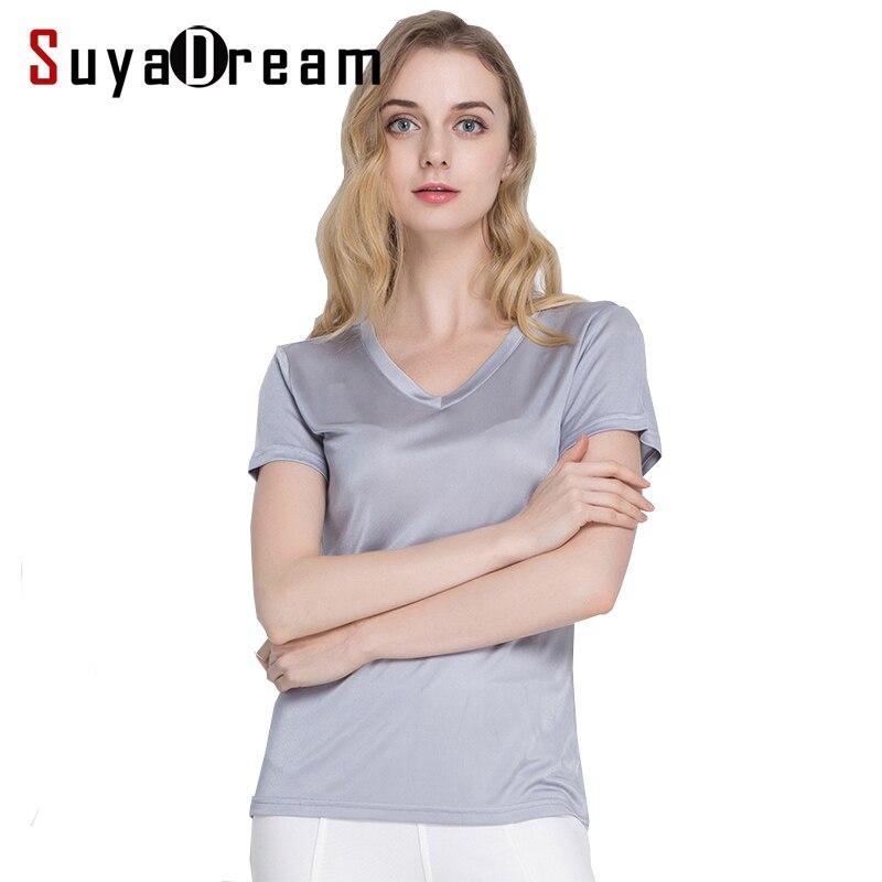 Silk women T-shirt 100% Naturlig silke baseball skjorte Kortærmet solid V-hals top 2019 ny hvid sort Bundende skjorte
