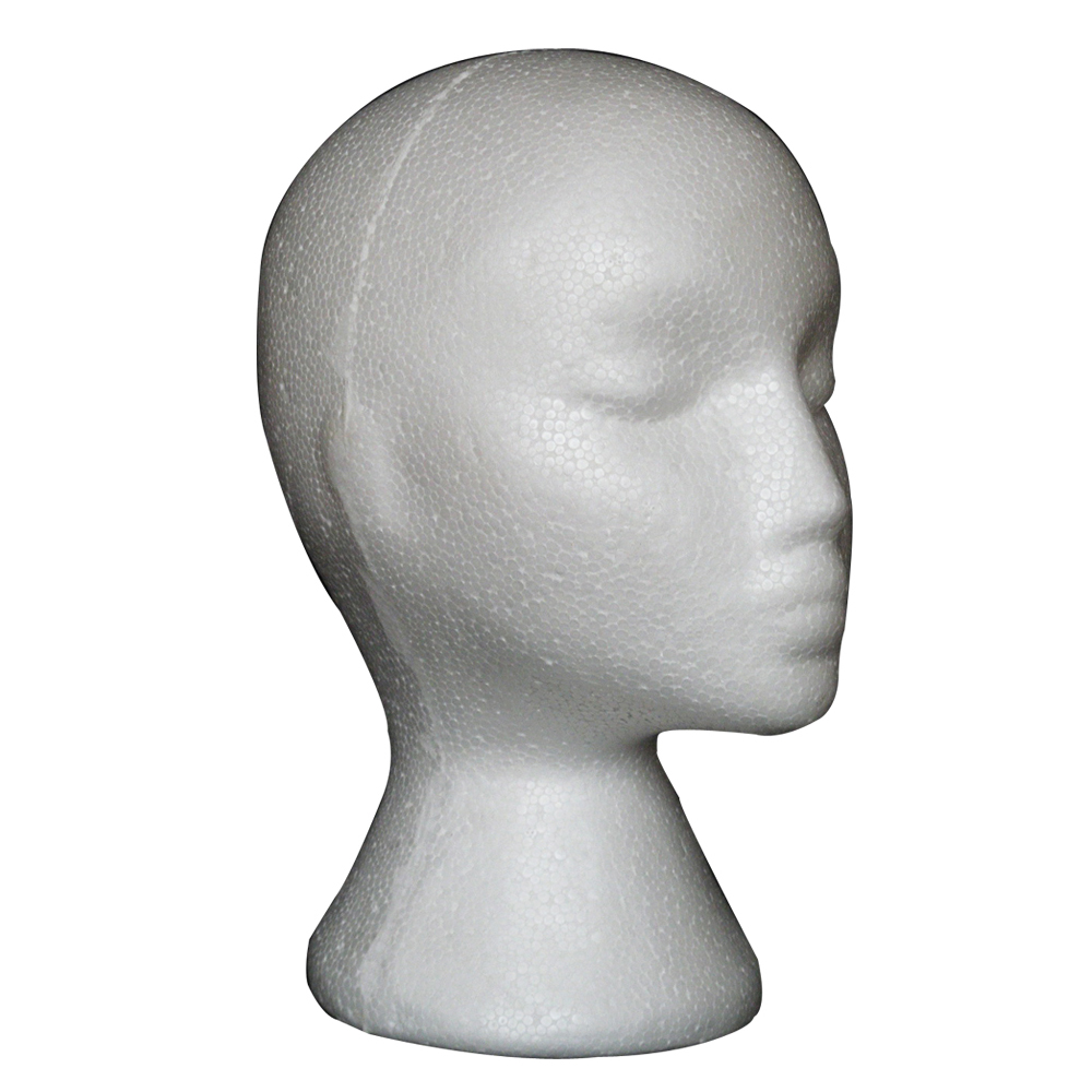 Female Styrofoam Mannequin Manikin Head Model Foam Wig Hair Glasses Display Stand White