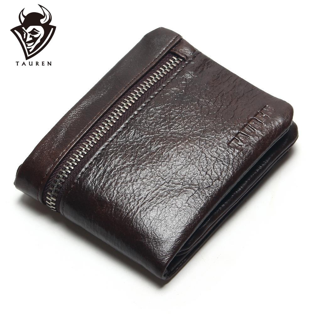 TAUREN Ehtne nahast meeste rahakotid brändi logo tõmblukk disain lühikesed mehed rahakott mees sidur kaardi omanik mündid rahakotid rahakott
