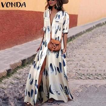 VONDA kobiety Maxi długa sukienka 2019 jesień wiosna czeski Sexy V Neck pełna rękaw Split kostki drukowane Plus rozmiar Vestidos